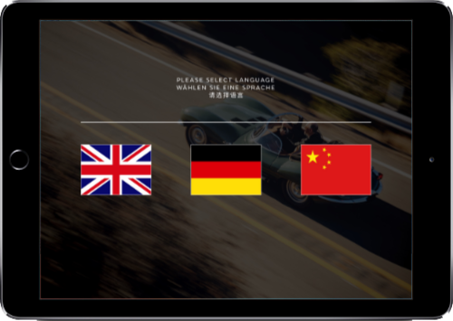 The selection screen for languages on iPad
